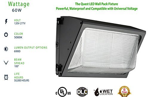 LED 60W Wall Pack Glass Lens Light 6,900lm; Dimmable 0-10v; (250W MH Equivalent) Daylight 5000K; DLC Premium; Commercial Grade Weatherproof Outdoor Perimeter Security Lighting Fixture; 10 YR Warranty -