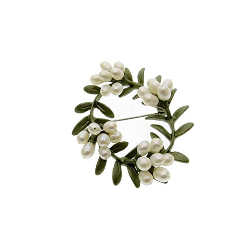 Sunvy Premium Unisex Brooch Pin Vintage Olive Branch Pearl Enamel Paint Brooch For Wedding Party