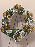 COLLEGE PRIDE - CSU -COLORADO STATE UNIVERSITY 2 - RAMS - DORM DECOR - DORM ROOM - COLLECTOR WREATH - WHITE & GREEN CARNATIONS WITH GOLD ROSES