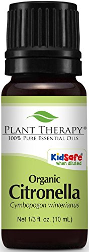 Plant Therapy USDA Certified Organic Citronella Essential Oil. 100% Pure, Undiluted, Therapeutic Grade. 10 ml (1/3 oz).