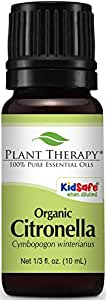 Plant Therapy USDA Certified Organic Citronella Essential Oil. 100% Pure, Undiluted, Therapeutic Grade. 10 ml (1/3 oz).