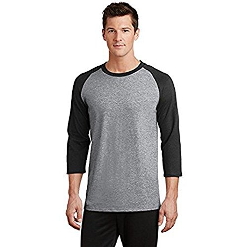 About Baseball T-shirt - MareLight Singles Three Quarter Sleeve Baseball Raglan T-Shirt (Large, Black/H.Grey)