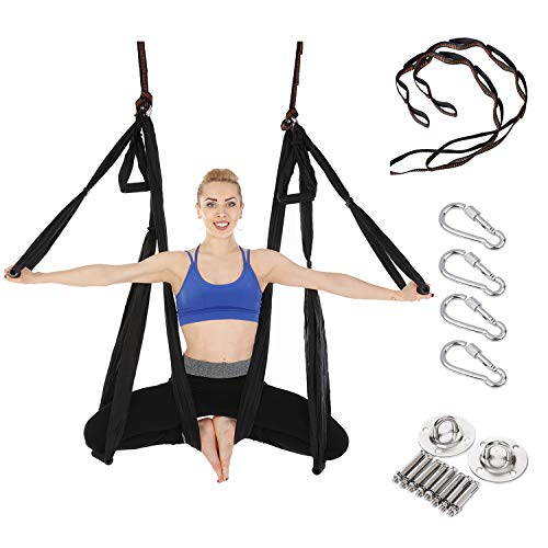 Arcfoxi Yoga Swing Set, Yoga Hammock, Antigravity Ceiling Hanging Yoga Sling, Inversion Swing with Two Extender Hanging Straps