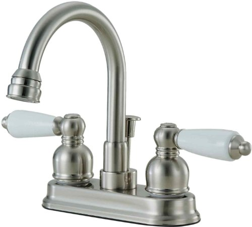 Hardware House 122832 Lavatory or Bar Faucet, Double Handle with Pop Up Drain, Satin Nickel Color. - Hybrid Nipple