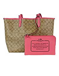 coach canada outlet ynui  Coach Reversible City Tote Signature PVC Handbag Khaki / Strawberry