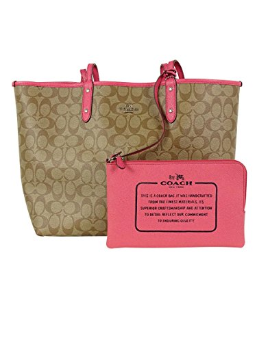 Tote Reversible Khaki City F36609 Strawberry PVC Coach Signature vqF4wn
