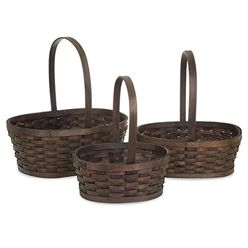 Vintage & Retro Handbags, Purses, Wallets, Bags The Lucky Clover Trading Oblong Woodchip Weave Fixed Handle Basket 16L  Set of 3 $30.99 AT vintagedancer.com