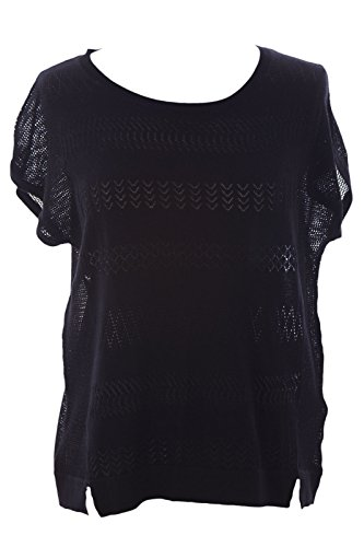 August Silk Women's Boat Neck Mesh Inset Knit Top X-Large Black (Silk Cotton Boat Neck)