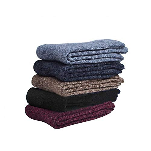 - Men's 5-Pack Solid Color Cashmere-Wool Crew Socks