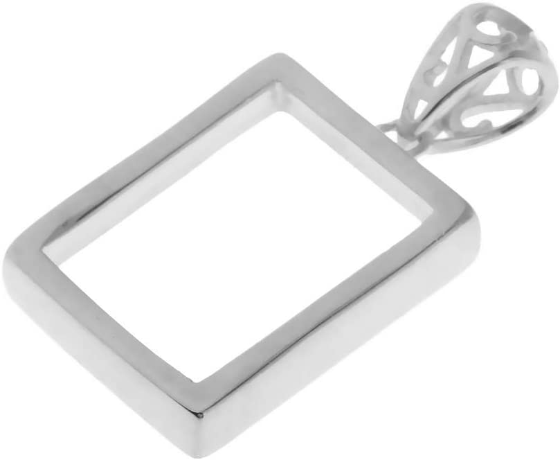 IPOTCH Plata De Ley 925 Rectángulo Encantos Cabochon Bead Bisel Configuraciones Colgantes En Blanco Bandeja Base para DIY Collar Pulsera Pendientes Joyería F