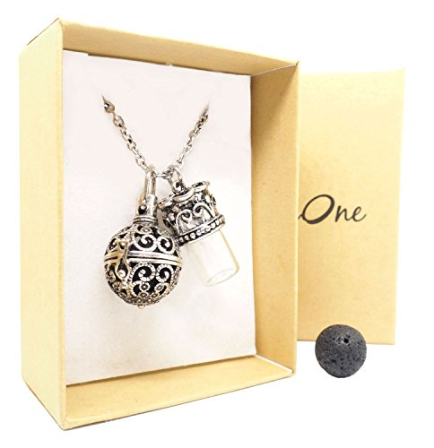 Aromatherapy Necklace Essential Oil Diffuser Pendant w/ Bottle Lava Rock gift kit