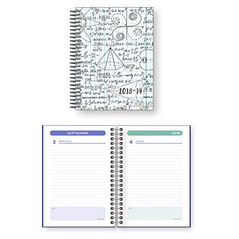 Agenda escolar 18/19 espiral a6 1 dp katacrak maths blanco ...