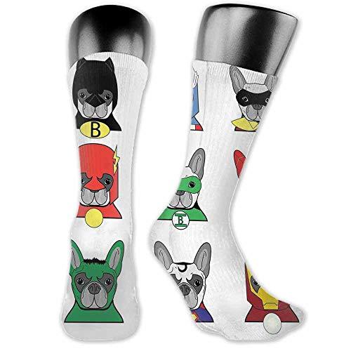 Men's Socks Summer Superhero,Bulldog Superheroes Fun Cartoon Puppies in Disguise Costume Dogs with Masks Print,Multicolor,socks women low cut no show