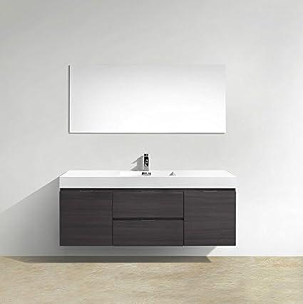Enovaus Bliss 60 Single Sink Wall Mount Modern Bathroom Vanity And