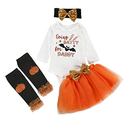 Orange Tutu With Headband - Youmymine 4Pcs Toddler Baby Kids Girls