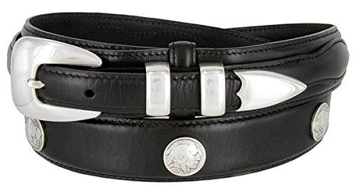 Hagora Men Oil-Tanned Native American Concho 4 Piece Silver Buckle Leather Belt,Black 34
