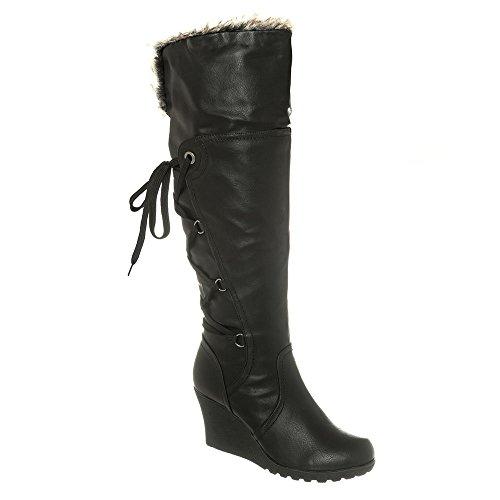 JUDY. Medium wedge Heel Cleated Sole Fur Lined Knee High Boot black matt