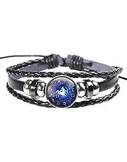 Horoscope Zodiac Western Astrology Sagittarius Wristband bracelet braided leather glow light in dark pendant party Halloween gift for men and women adjustable all size