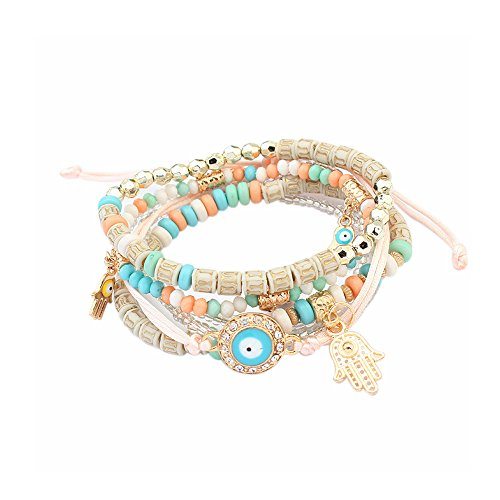 LUREME Bohemian Beads Multi Strand Hamsa Hand Evil Eye Charms Stretch Bracelet Set-Colorful (bl003164-4)