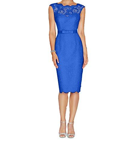 Etuikleider Abendkleider Neu Royal Damen Partykleider Spitze Charmant Brautmutterkleider Knielang Blau Elegant 60pq0U1