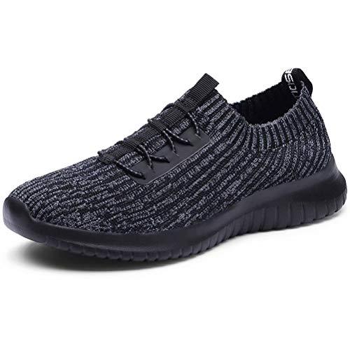 LANCROP Women's Athletic Walking Shoes - Casual Mesh Lightweight Running Slip On Sneakers 11 US, Label 43 Black Grey