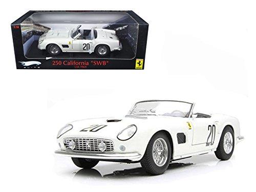 (Maisto Hot wheels Ferrari 250 California SWB Lemans 1969 White #20 Elite Edition 1/18 Car Model by Hotwheels)