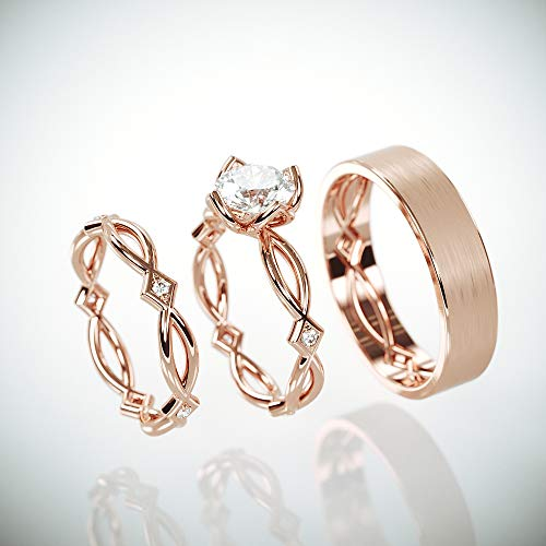 Rose Gold Celtic Wedding Ring Set | 14k Rose Gold His and Hers Wedding Band with Charles & Colvard Forever One Moissanite and diamonds