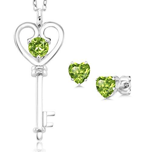 Gem Stone King 1.50 Ct Round Green Peridot 925 Sterling Silver Key Pendant Earrings Set