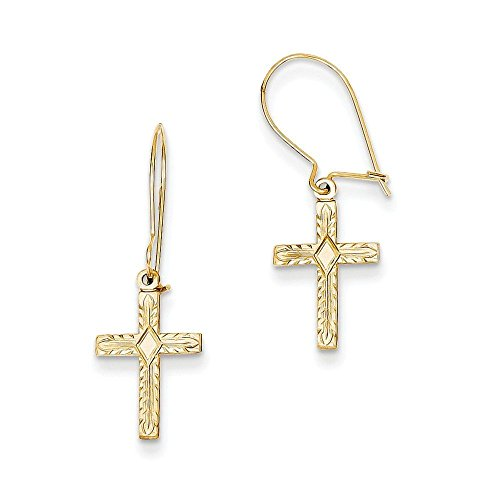 14k-Gold-Kidney-Wire-Cross-Earrings-106-in-x-039-in