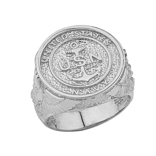 Men's Solid Sterling Silver US Navy Military Insignia Ring (Size 6.75)