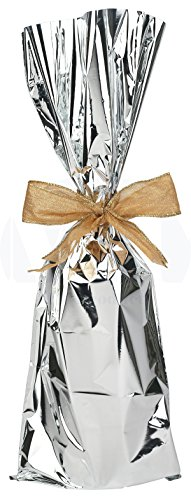 Cellophane Wine Bags - Metallic Mylar Wine Gift Bags for 750ml to 1L Bottles (6.50 in x 18 inches) by MT Products - 25 Pieces (Silver)
