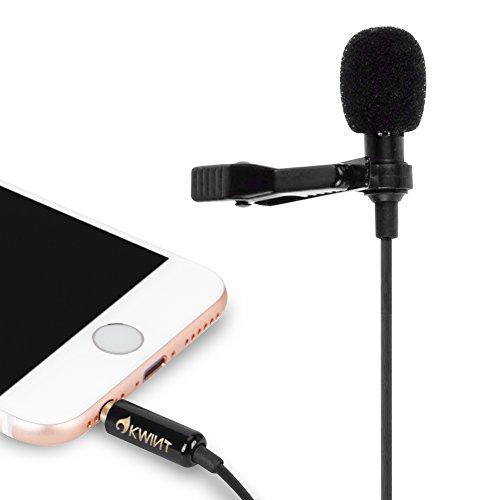 OKWINT 콘덴서 마이크 핀 마이크 고음질 미니 마이크 클립 iPhone/iPad/Android/pc/카메라 대응 수납 파우치 부속(블랙)