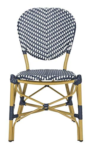 Safavieh PAT4010A-SET2 Outdoor Collection Lisbeth Navy and White French Bistro Stacking Side Chair
