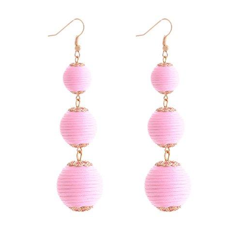 VK Accessories Thread Ball Dangle Earrings Thread Dangle Earrings Soriee Drop Earrings Beaded Ball Ear Drop Pink