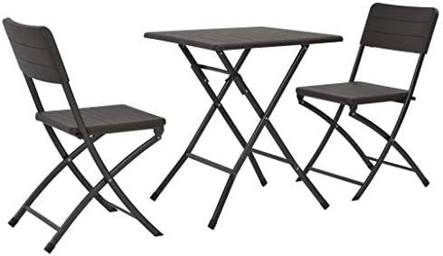 Tidyard- Mesa y sillas jardín Plegables 3 pzas HDPE Aspecto ratán ...