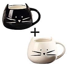 OliaDesign Black & White Cat Coffee Ceramic Mugs, Set of 2