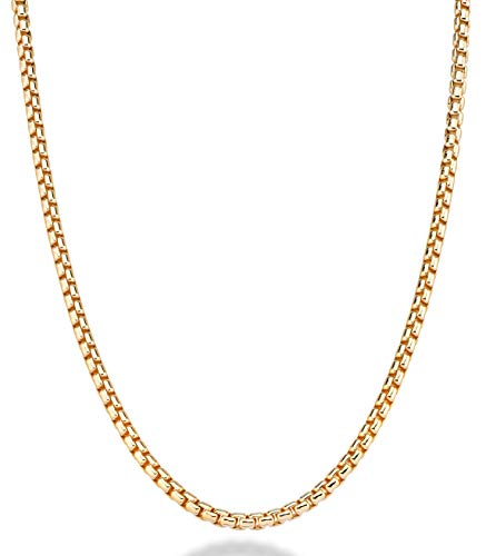 MiaBella 18K Gold Over Sterling Silver Italian 3.5mm Solid Round Box Link Chain Necklace Bracelet for Women Men, 8