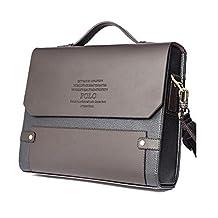 Polo Men's Genuine Leather Secure Briefcase Shoulder Messenger Bags brown Business Laptop Bag