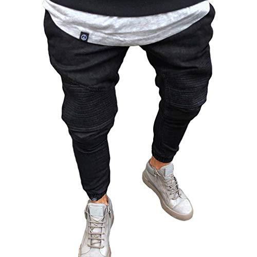 Strappati Da Zipper Fit Juleya Uomo Pantaloni Denim Slim Nero Sfilacciati Jeans Biker Stretch Strappato Skinny UxnRqB