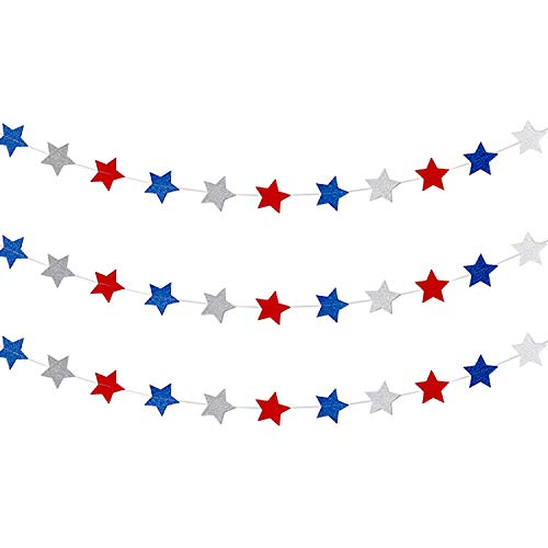 Frienda Red White Blue Star Streamers Patriotic 4th of July Decorations Sparkling Star Garland Hanging Decorations, 3 -