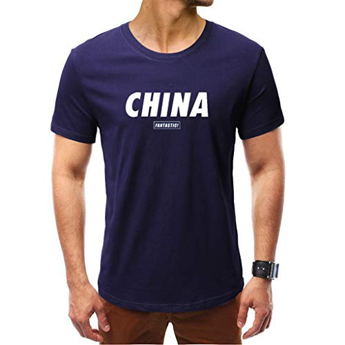 Fashuion!! SFE Men Summer Shirts,Men's World Printing T Shirt Leaf Short Sleeve Tops Casual Open Shirts Navy