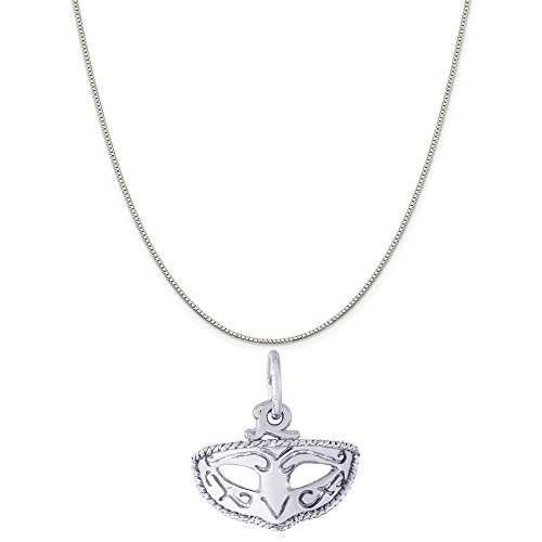 Rembrandt Charms Sterling Silver Mardi Gras Mask Charm on a Sterling Silver Box Chain Necklace, - Inch Mask 18 Gras Mardi