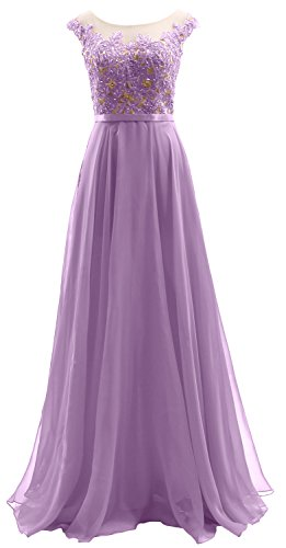 Lavendel Sleeves Dress Illusion Wedding Party Dress Lace Cap Long MACloth Chiffon Prom PqvnB5Ew