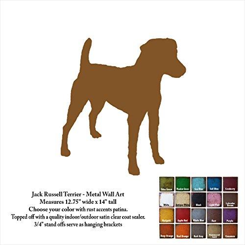 14 inch tall Jack Russell Terrier metal wall art - Handmade - Choose your patina color (Sculpture Terrier Metal)