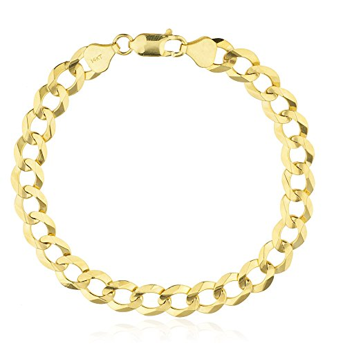14k-Yellow-Gold-Solid-Cuban-8-Inch-8mm-Link-Bracelet-GO-1434