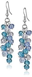 "Ocean Blue Cluster Faceted Crystal Dangle Hook Earrings For Women 2"""