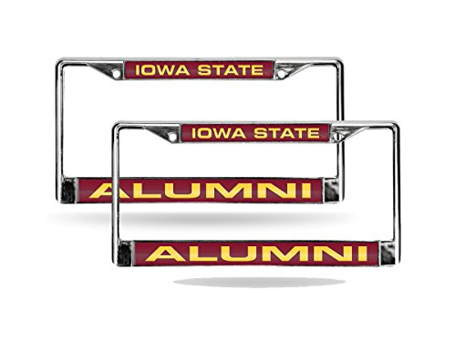 Iowa State Chrome Metal (Iowa State Cyclones Alumni Chrome Metal (2) Laser Cut License Plate Frame Set)