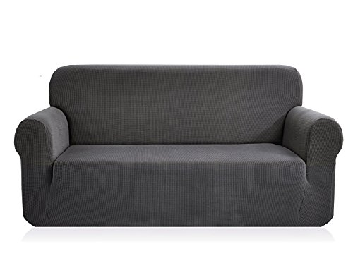 (CHUN YI 1-Piece Jacquard High Stretch Sofa Slipcover, Polyester and Spandex 3 Seater Cushion Couch Cover Coat Slipcover, Furniture Protector Cover for Sofa and Couch (Sofa, Gray))