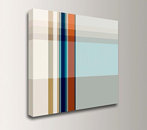 Plaid Wall Art (Minimalism Artwork - Light Blue and Tan Plaid Canvas Wall Decor -