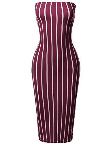 Made by Emma Pinstripe Print Body-Con Tube Midi Dress Burgundy (Strapless Emma Dress)